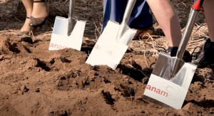 Close up of three shovels digging in dirt