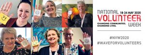 A collection of photos of people with a smily face on a post it note stuck to their hand, for National Volunteer Week