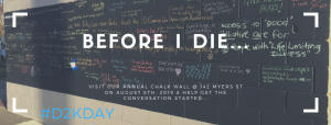 Image of a blackboard with writing on it stating things people would like to do before they die