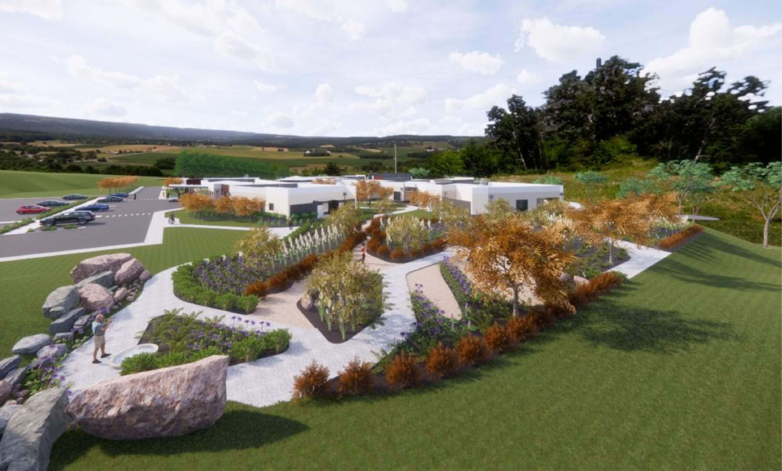 Artist impression of the building and grounds of the new Anam Cara