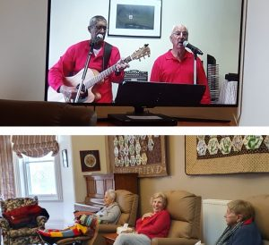 Image 1: two people singing and playing music on a screen/image 2: three people sitting on armchairs
