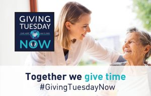 An image of a nurse smiling with a patient, with information about Giving Tuesday